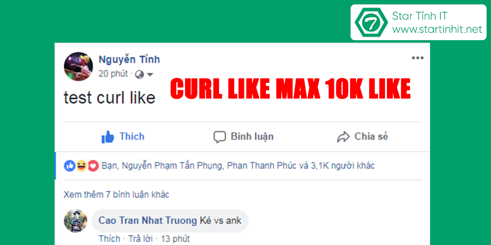 Share curl like tây free max 3k like - 10k like mới nhất 2018 chưa fix