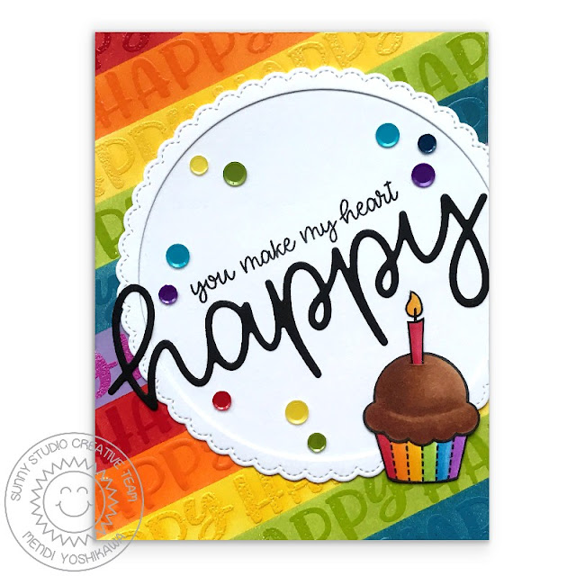Sunny Studio Stamps: Happy Thoughts Rainbow Striped Birthday Cupcake Card by Mendi Yoshikawa
