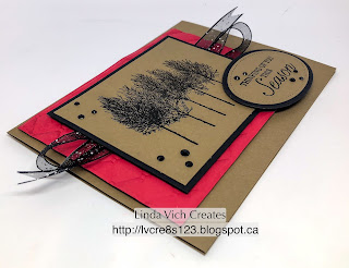 Linda Vich Creates: Holiday Catalog 2018 Sneak Preview: Winter Woods Christmas. A cheery Real Red matte embossed with the Tufted Embossing Folder serves as the backdrop for this graphic Christmas card using the Winter Woods stamp set.