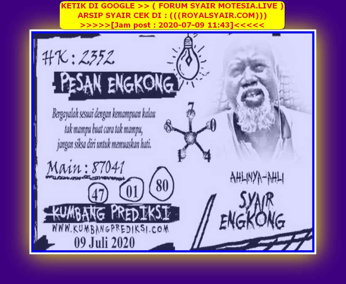 Kode syair Hongkong Kamis 9 Juli 2020 284