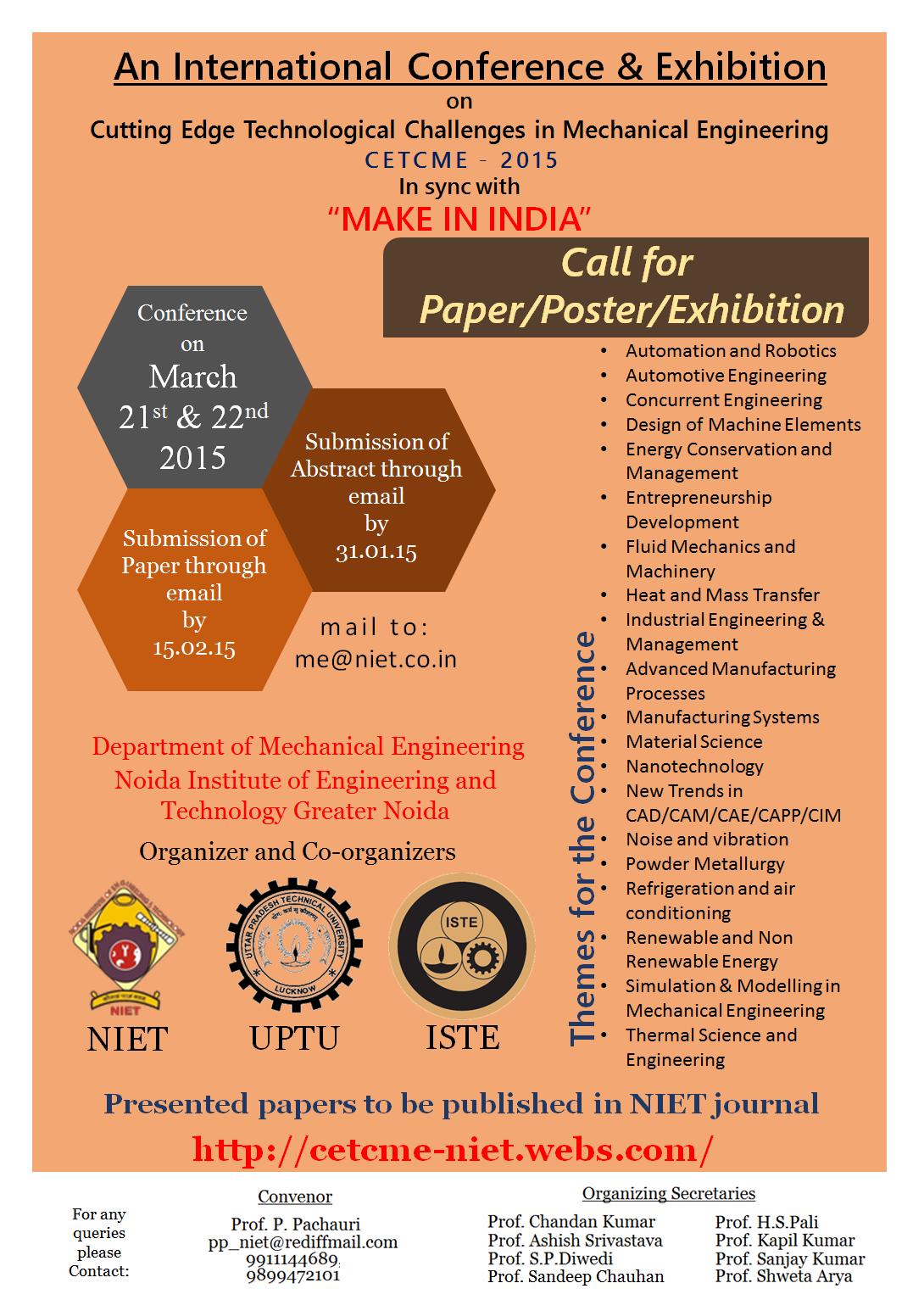 Poster Design International Conference Mechanical Engineering Av Designs The Tomorrow