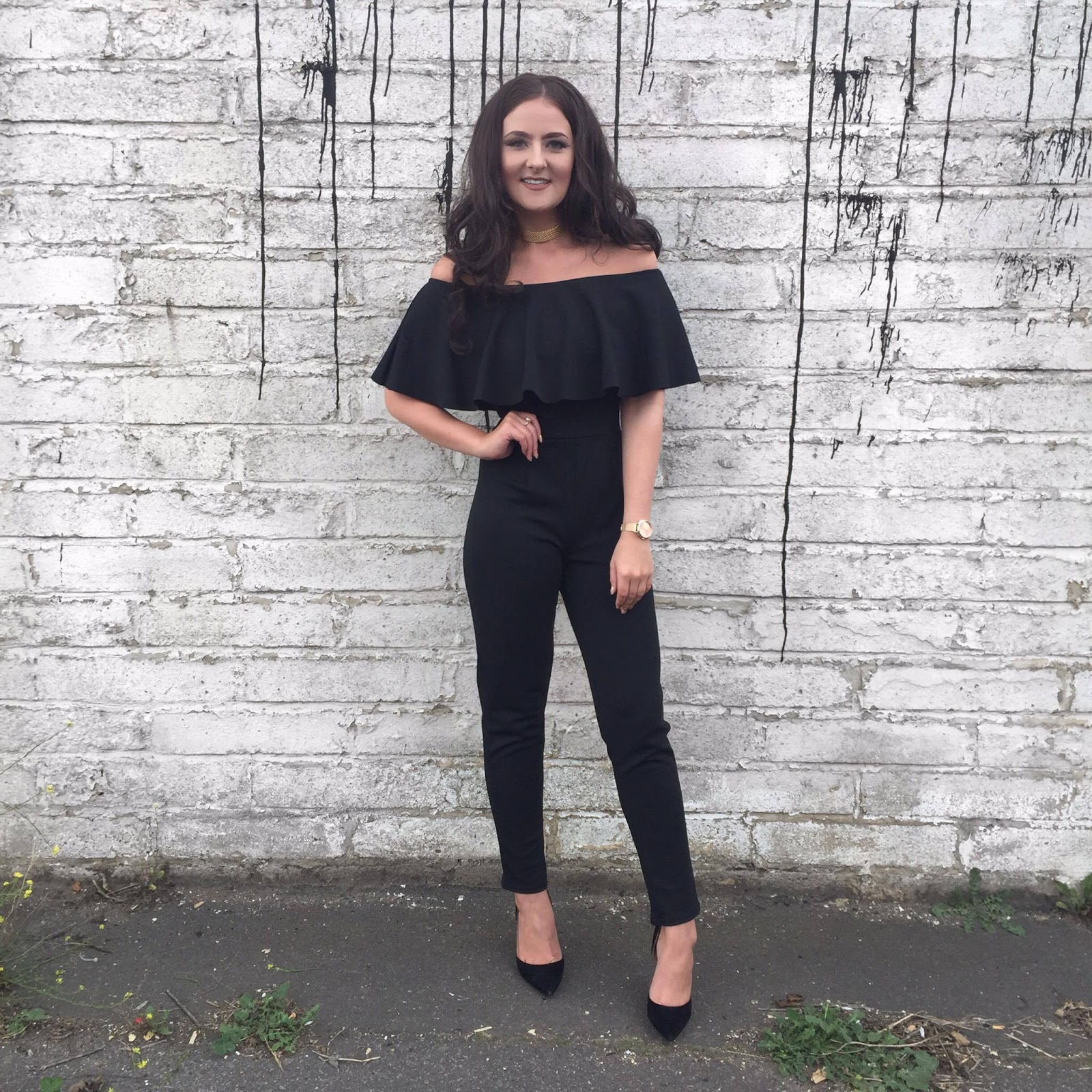 Ellie Rees - Quiz Clothing Collaboration Black Bardot Jumpsuit