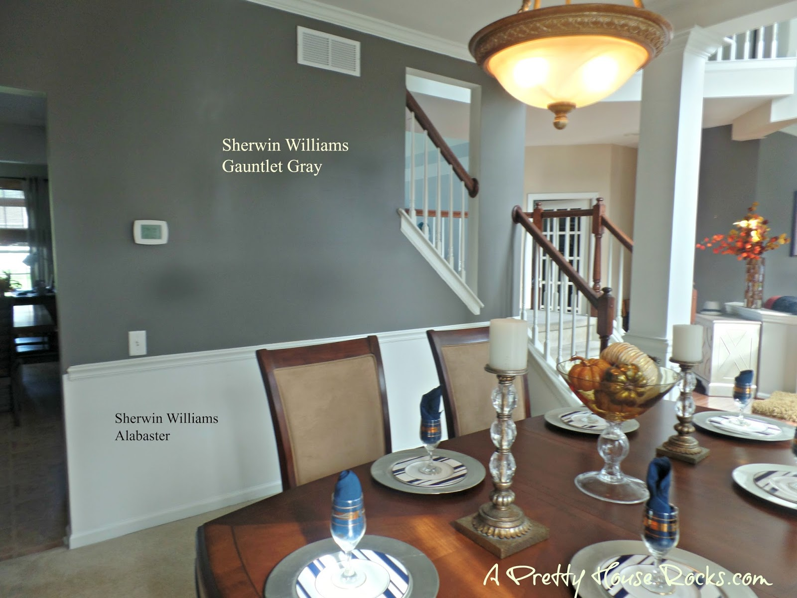 I Fell In Love With Sherwin Williams Gauntlet Gray Above Chair Rail And Alabaster Below These Paint Colors