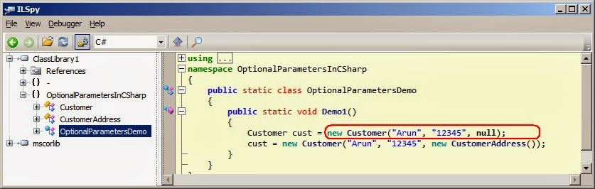 optional parameters in C# shown in ILSPY