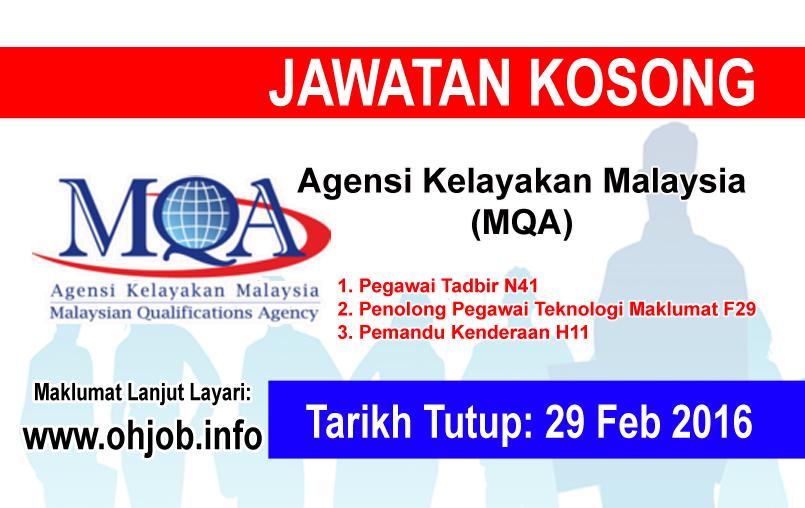 Jawatan Kerja Kosong Malaysian Qualifications Agency (MQA) logo www.ohjob.info februari 2016