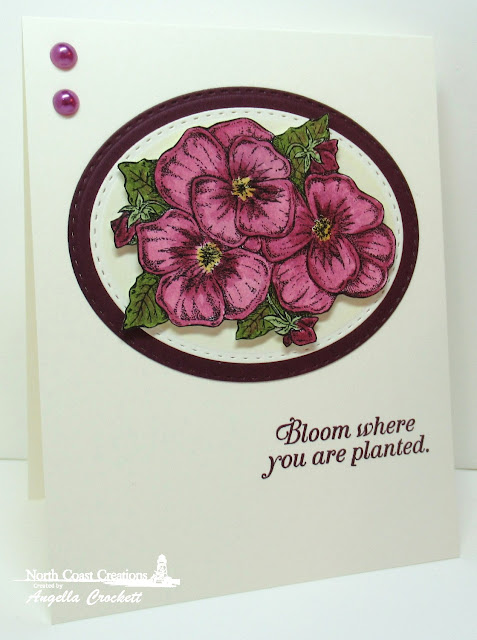 NCC Pansies, ODBD Custom Double Stitched Ovals Dies, Card Designer Angie Crockett