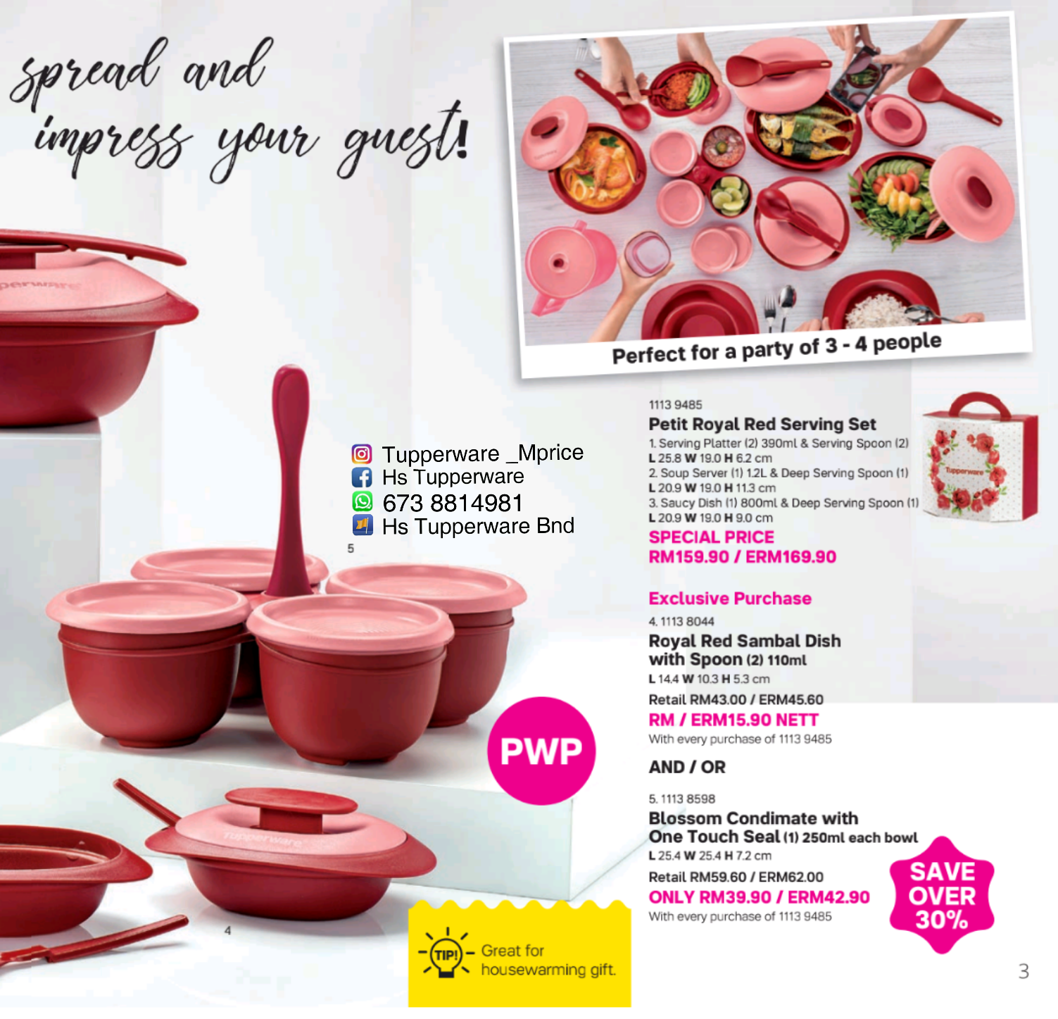 New Year 2018 Jan Catalogue Tupperware Member Price Cherry Blossom Set Merah Sept Own It Campaign