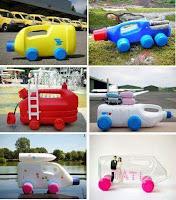 automoviles de juguete reciclados con botellas