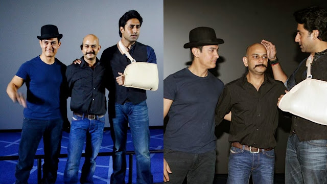 Dhoom 3 movie director Vijay Krishna Acharya and actors Aamir Khan and Abhishek Bachchan at trailer launch event