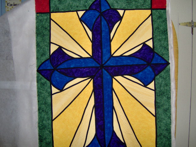 Sew N Sews Evelyn S Stained Glass Cross Quilt