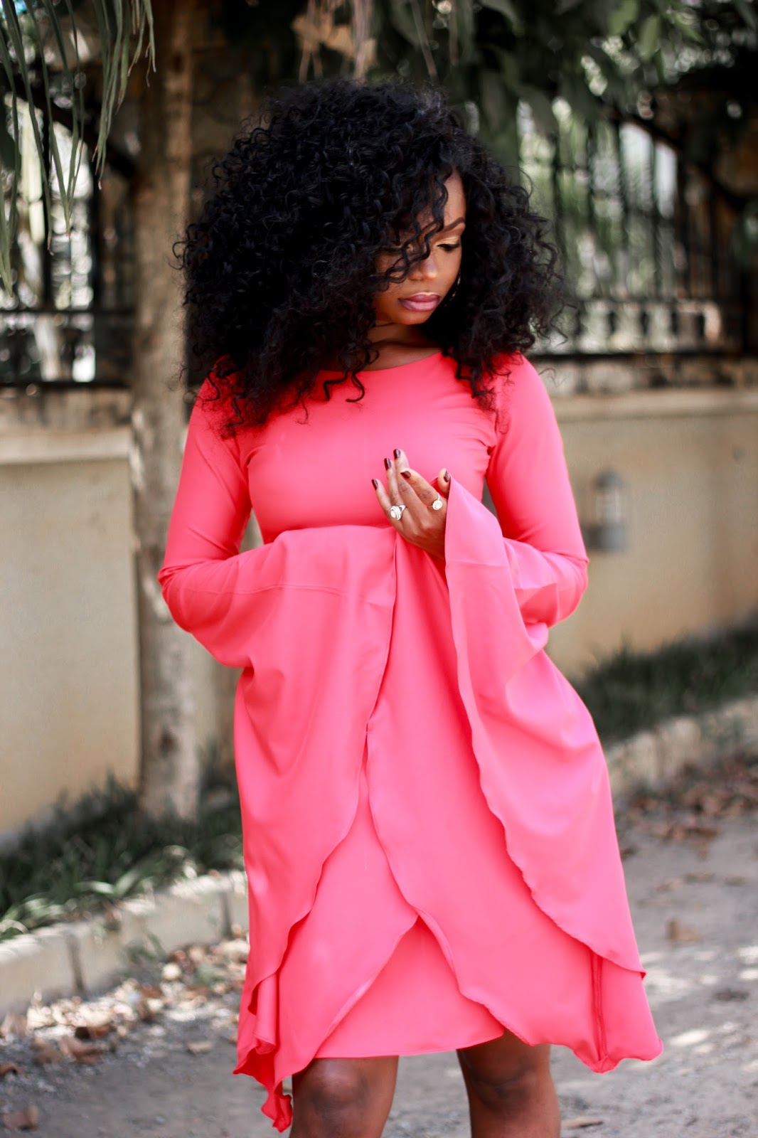 FLARED OUT IN KITAU - Red Flared Dress with Flared sleeves
