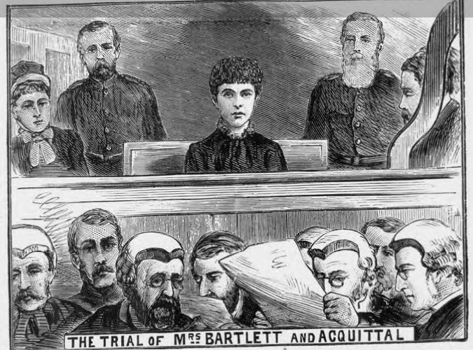 newspaper drawing of Adelaide in court