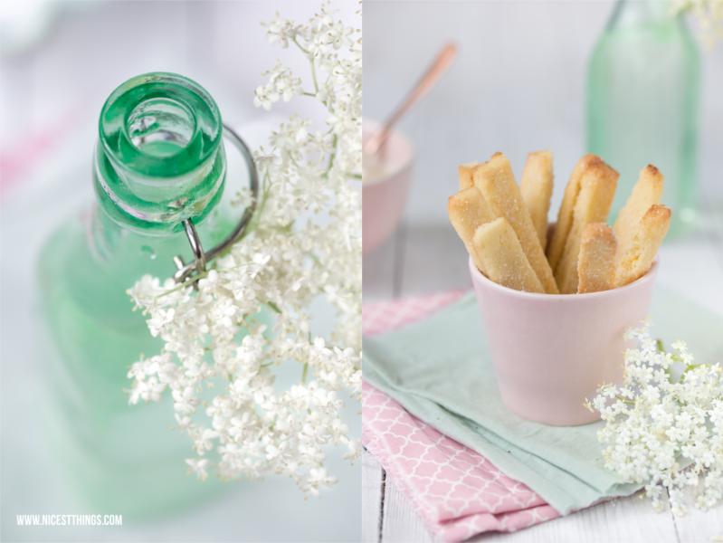 Cookie Fries mit Holunderblütensirup Sahne Holunder Rezept grüne Flasche