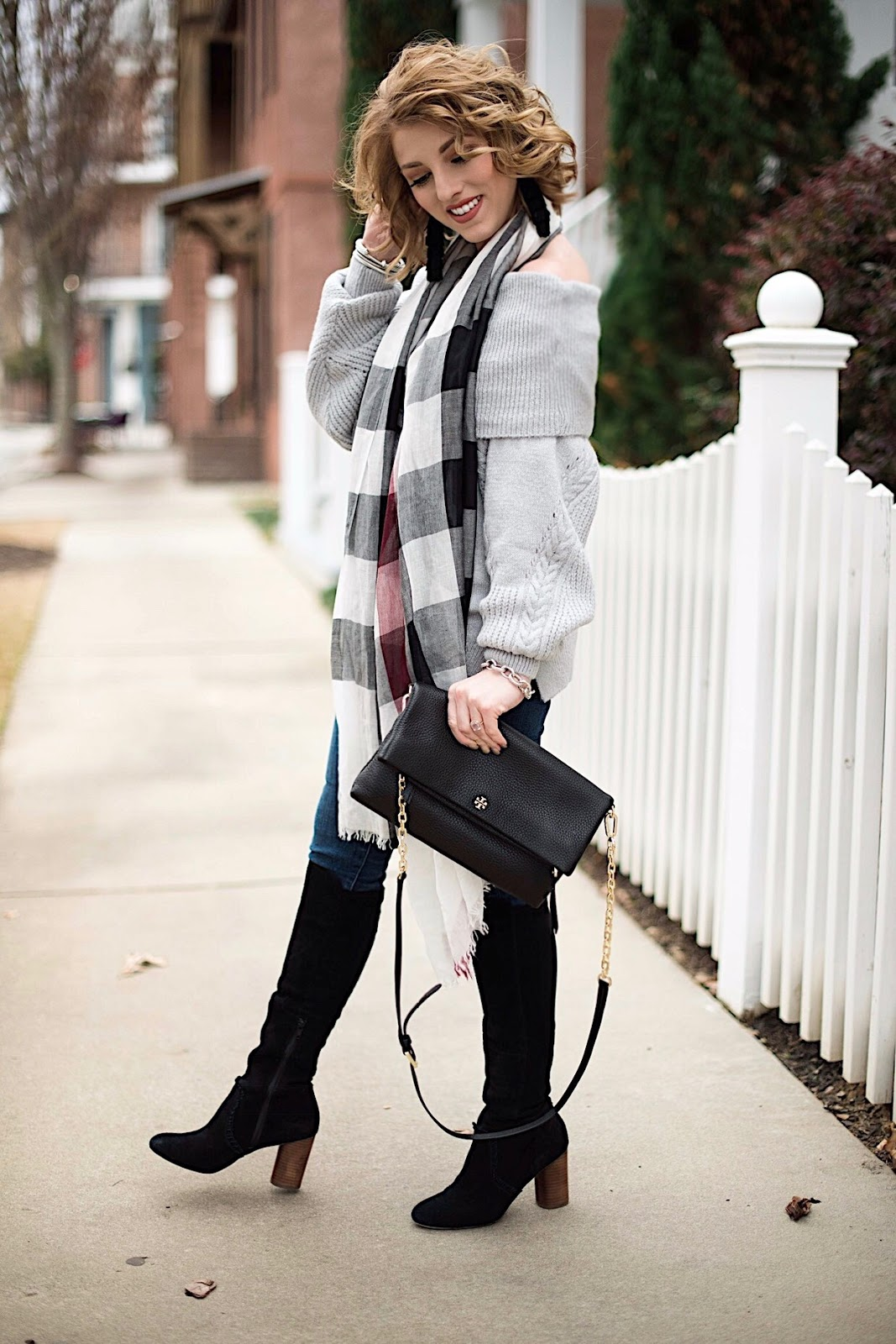 Grey OTS Sweater + Burberry Scarf - Something Delightful Blog