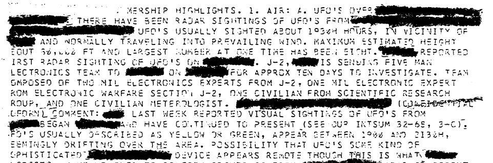 UFO report radar