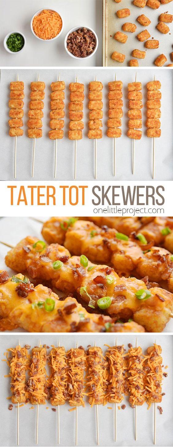Loaded Tater Tot Skewers Recipe