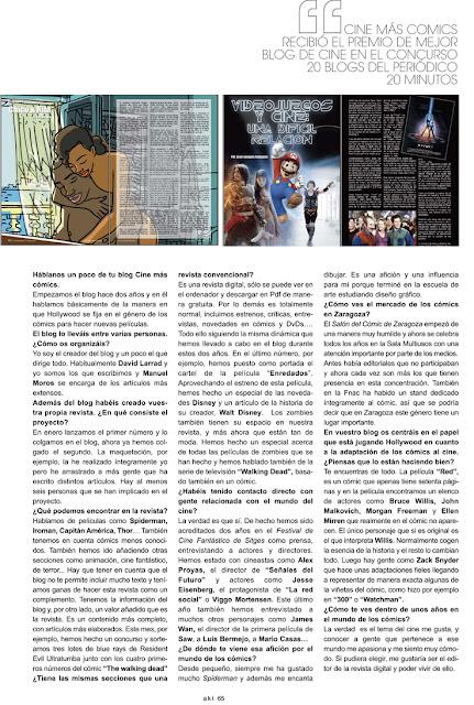 Cinemascomics en la revista AKI Zaragoza