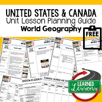 United States geography lesson plans, Canada geography lesson plans, world geography lesson plans, geography activities, world geography games, world geography middle school, world geography high school