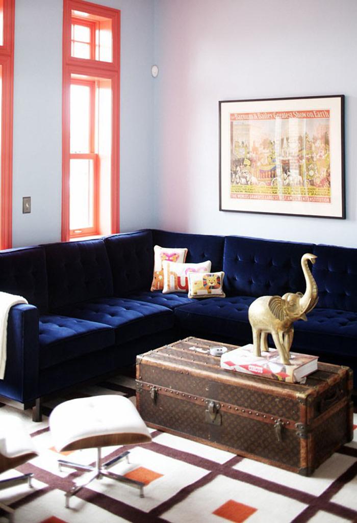 Wishlisted Navy Blue Velvet Sofa Triple Max Tons