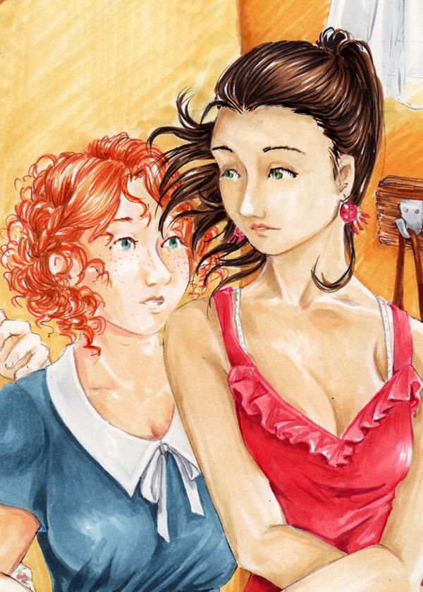 Danse entre filles - illustration au copic