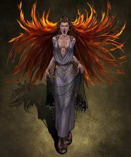 Empusa, a semi-goddess with fire-red hair