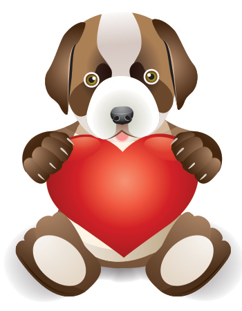 Love puppy and heart