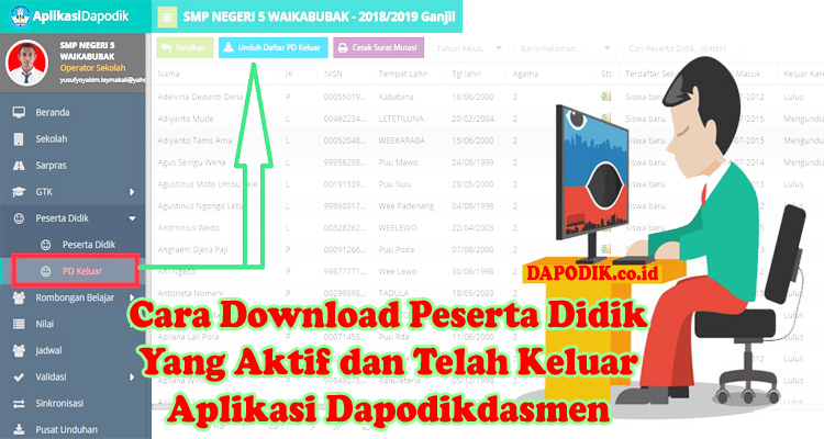 Cara Download Peserta Didik Yang Aktif dan Peserta Didik Yang Telah Keluar Pada Aplikasi Dapodik (VERVAL PD)