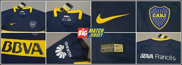 Detail New 2017-18 Boca Juniors Home Soccer Jersey Football Shirt