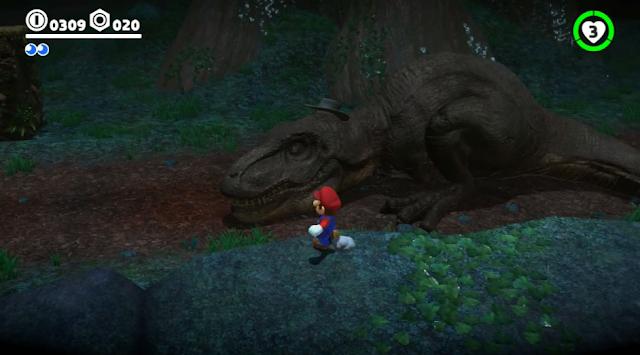 Super Mario Odyssey dapper t-rex cowboy hat deep woods