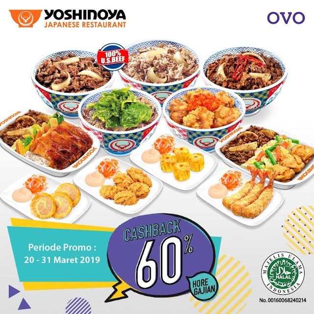 #Yoshinoya - #Promo Cashback 60% Pakai OVO Maks 30K (s.d 31 Maret 2019)