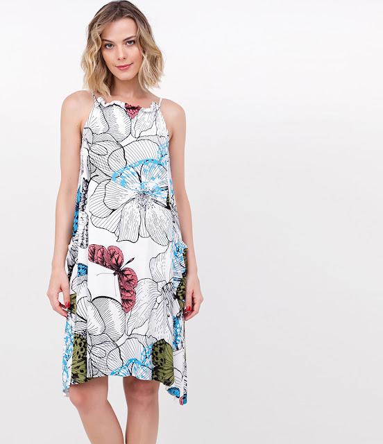 Moda feminina Vestido Floral com Bolsos