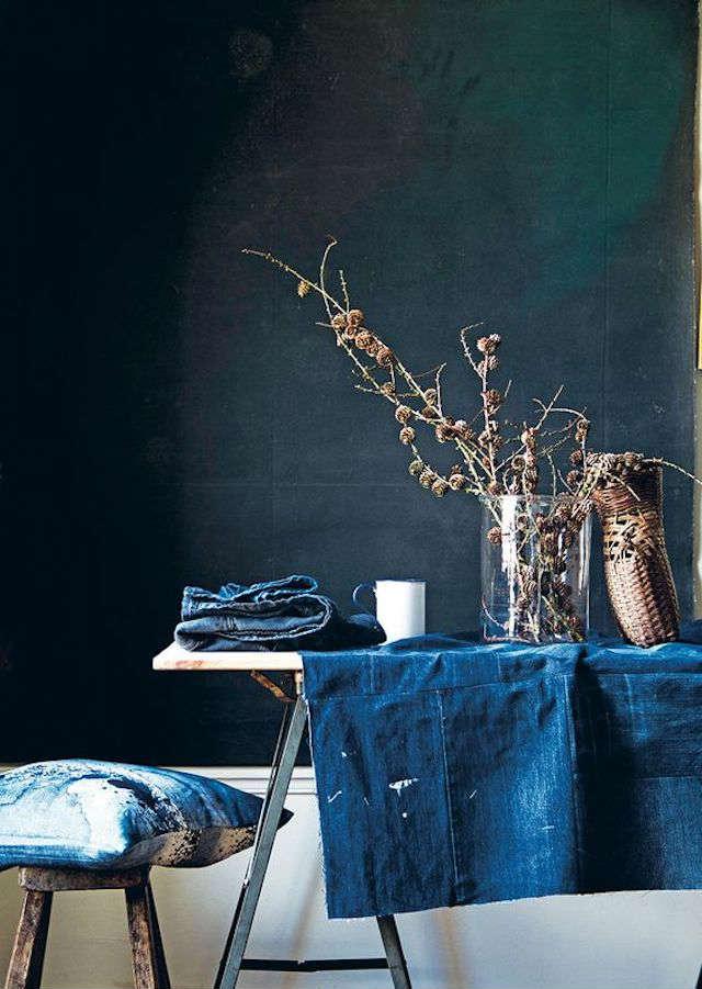 mantel de mesa con vaquero reciclado
