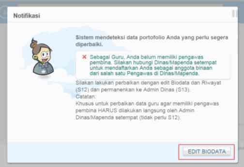 Gambar halaman edit biodata PTK
