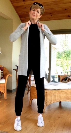 joggers from Aritzia, tee shirt from Gap and Inwear cardigan