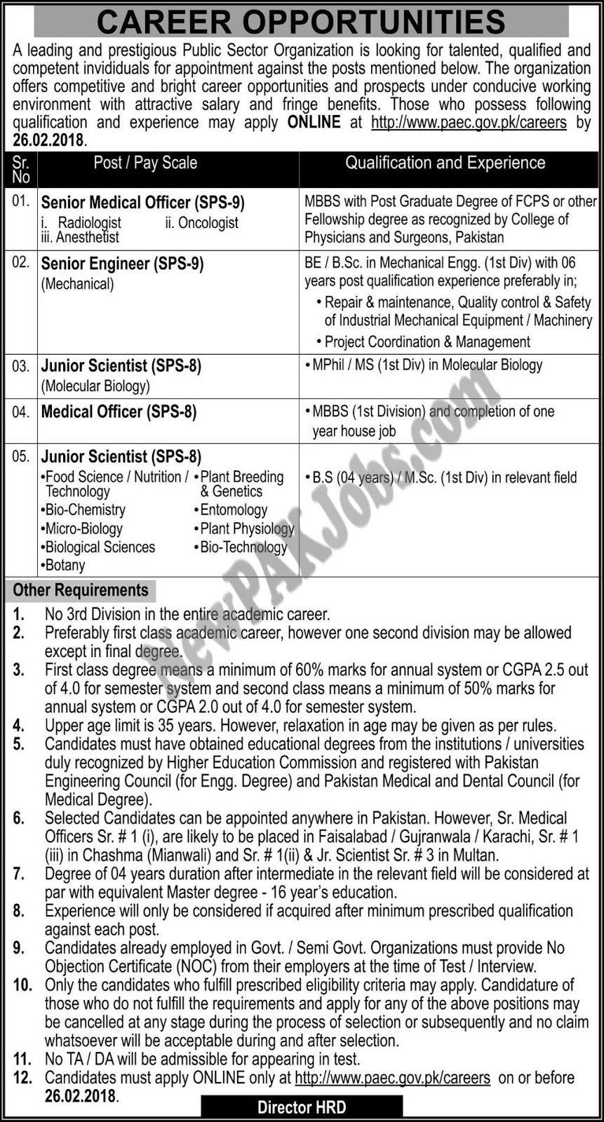 Today New Jobs in Public Sector Organization, Online Apply 2018, Latest Vacancies,