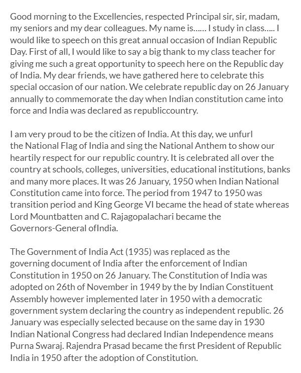 republic day speech in english pdf