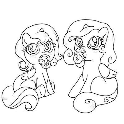 Две лошадки пони раскраска
