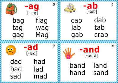 phonics flashcards for ESL short a sound