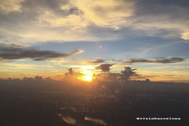 sunset and sky from a plane