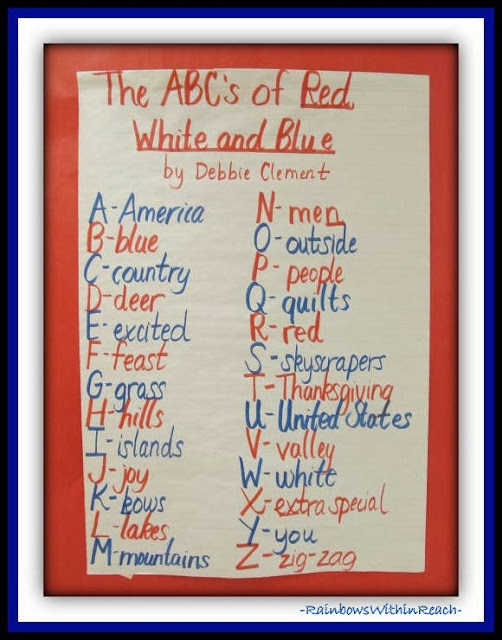 "Patriotic Kindergarten Response to ""Red, White and Blue"" by Debbie Clement"