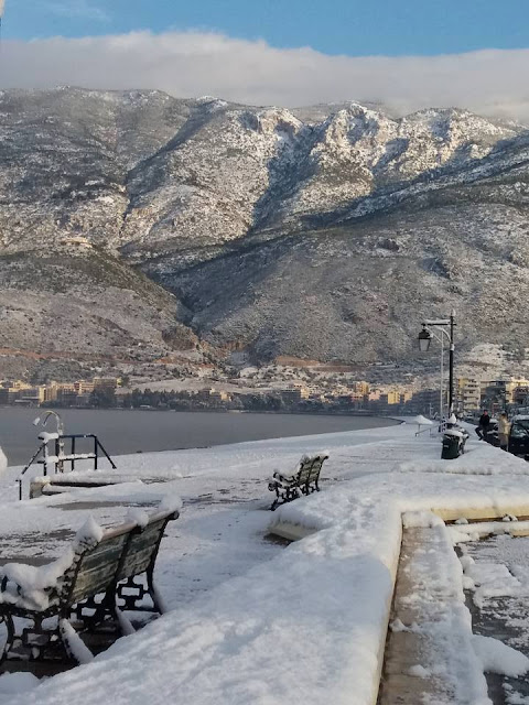 Snow on Loutraki beach, Greece. Photo Corinth City