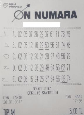on numara hiç sayı tutmayan kupon