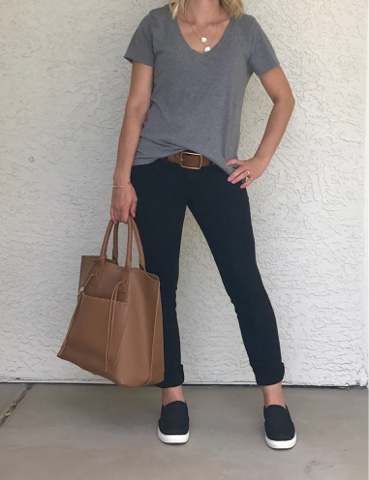 Thrifty Wife, Happy Life || Black jeggings, grey t-shirt and black slip on's