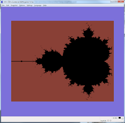 High resolution (hires) image of the Mandelbrot set on the Commodore 64
