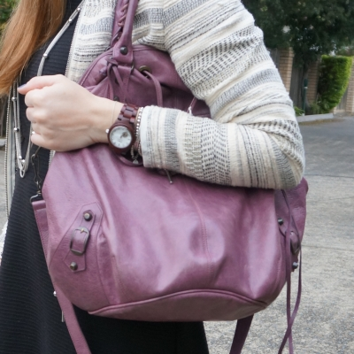 JORD COra purpleheart watch with Balenciaga pompon murier bag worn on shoulder | away from the blue