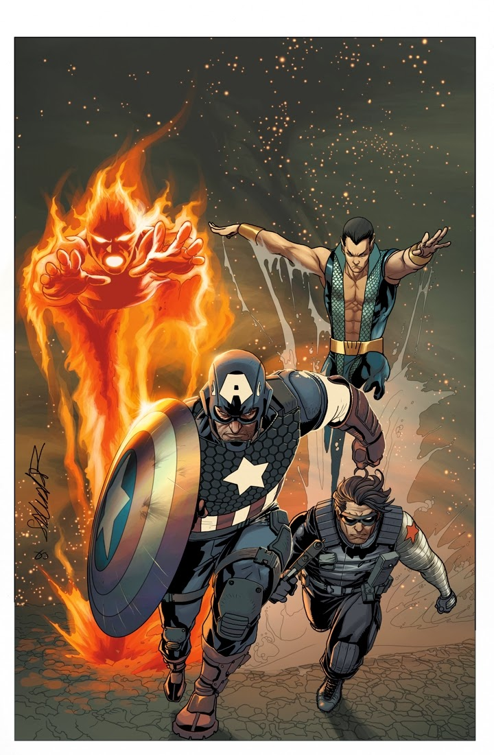 Fashion and Action: Cap, Winter Soldier, Torch, and Namor ...