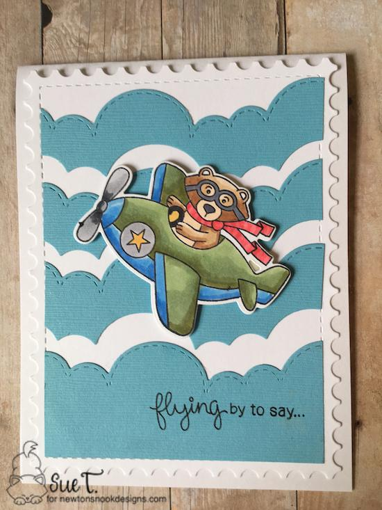 Flying by to say by Sue features Winston Takes Flight, Framework, and Sky Borders by Newton's Nook Designs; #newtonsnook