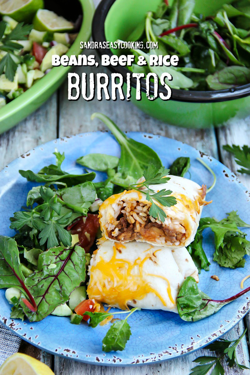 #recipe for Beans, Beef and Rice Burritos