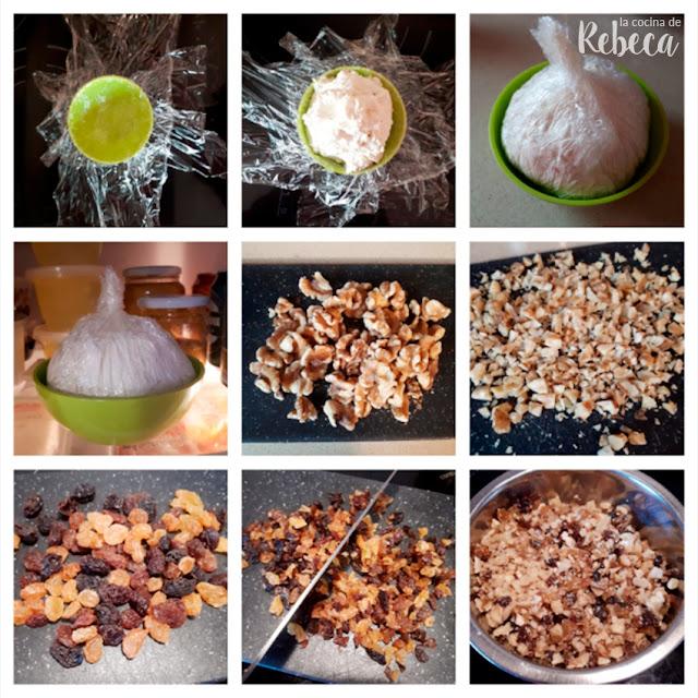 Receta de bola de queso con nueces y pasas: formado y preparación de la cobertura
