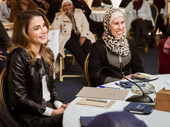 Queen Rania of Jordan at Royal Health Awareness Society's Healthy Schools National Accreditation project